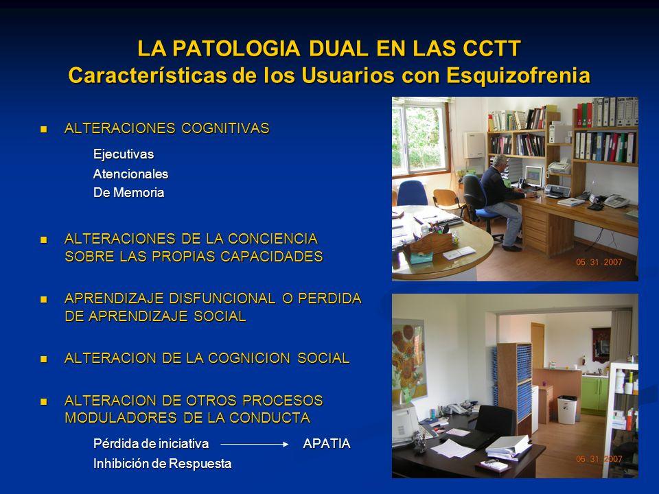 LA PATOLOGIA DUAL EN LAS CCTT Características de los Usuarios con Esquizofrenia ALTERACIONES COGNITIVAS ALTERACIONES COGNITIVASEjecutivasAtencionales De Memoria ALTERACIONES DE LA CONCIENCIA SOBRE LAS PROPIAS CAPACIDADES ALTERACIONES DE LA CONCIENCIA SOBRE LAS PROPIAS CAPACIDADES APRENDIZAJE DISFUNCIONAL O PERDIDA DE APRENDIZAJE SOCIAL APRENDIZAJE DISFUNCIONAL O PERDIDA DE APRENDIZAJE SOCIAL ALTERACION DE LA COGNICION SOCIAL ALTERACION DE LA COGNICION SOCIAL ALTERACION DE OTROS PROCESOS MODULADORES DE LA CONDUCTA ALTERACION DE OTROS PROCESOS MODULADORES DE LA CONDUCTA Pérdida de iniciativaAPATIA Inhibición de Respuesta
