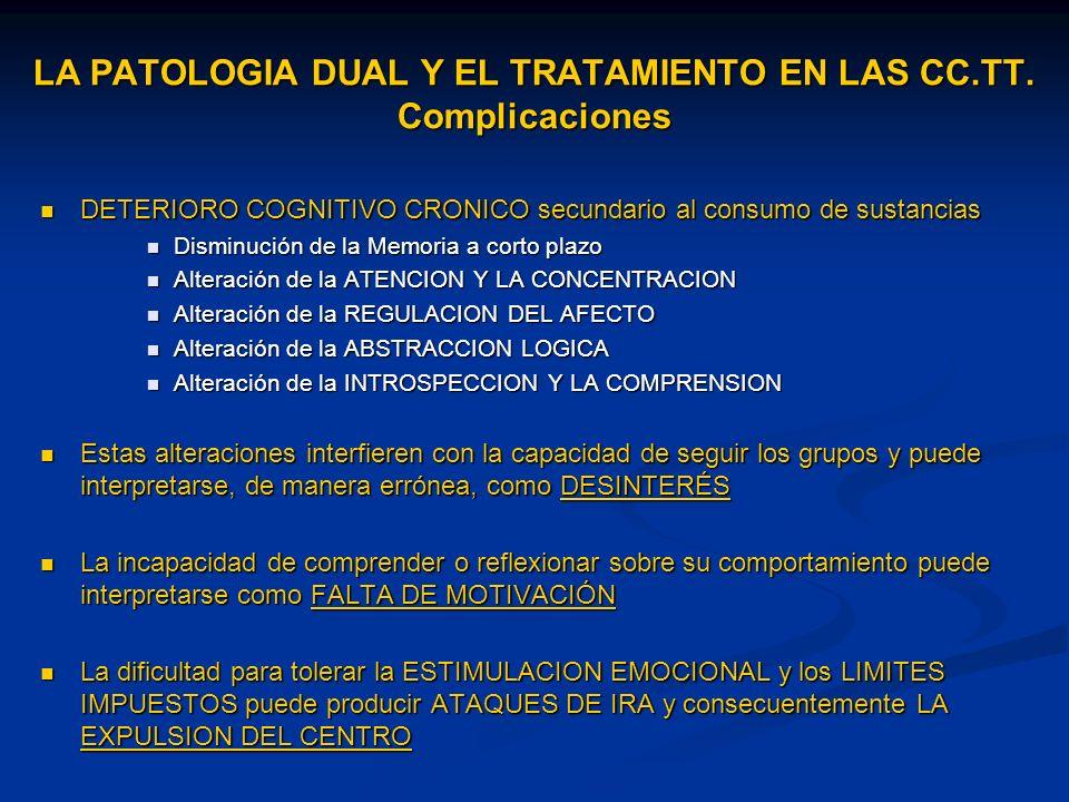 LA PATOLOGIA DUAL Y EL TRATAMIENTO EN LAS CC.TT. Complicaciones DETERIORO COGNITIVO CRONICO secundario al consumo de sustancias DETERIORO COGNITIVO CR