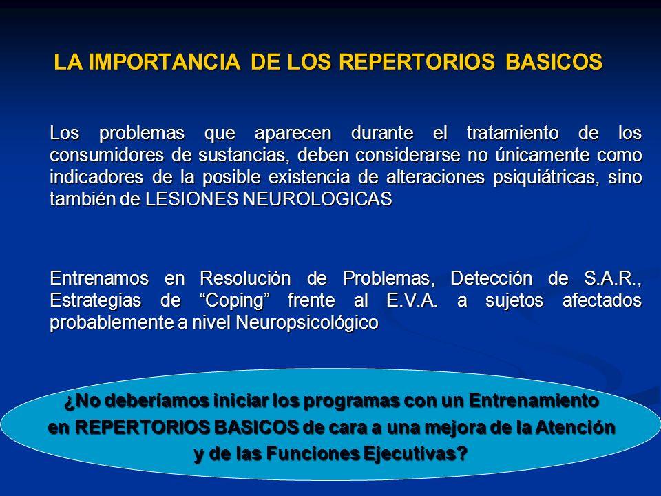 LA IMPORTANCIA DE LOS REPERTORIOS BASICOS Los problemas que aparecen durante el tratamiento de los consumidores de sustancias, deben considerarse no ú