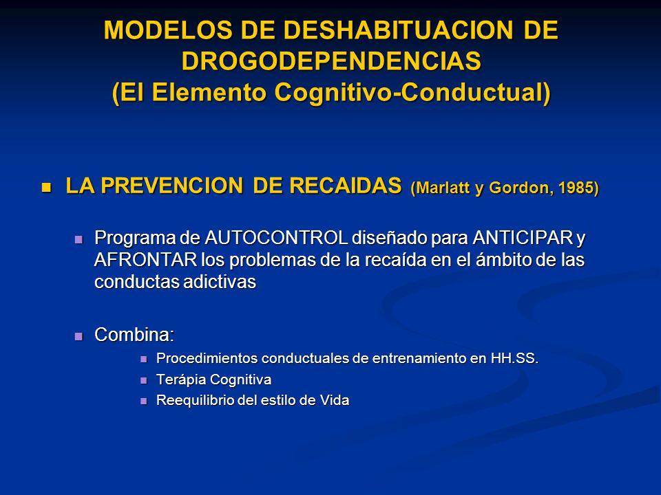 MODELOS DE DESHABITUACION DE DROGODEPENDENCIAS (El Elemento Cognitivo-Conductual) LA PREVENCION DE RECAIDAS (Marlatt y Gordon, 1985) LA PREVENCION DE RECAIDAS (Marlatt y Gordon, 1985) Programa de AUTOCONTROL diseñado para ANTICIPAR y AFRONTAR los problemas de la recaída en el ámbito de las conductas adictivas Programa de AUTOCONTROL diseñado para ANTICIPAR y AFRONTAR los problemas de la recaída en el ámbito de las conductas adictivas Combina: Combina: Procedimientos conductuales de entrenamiento en HH.SS.