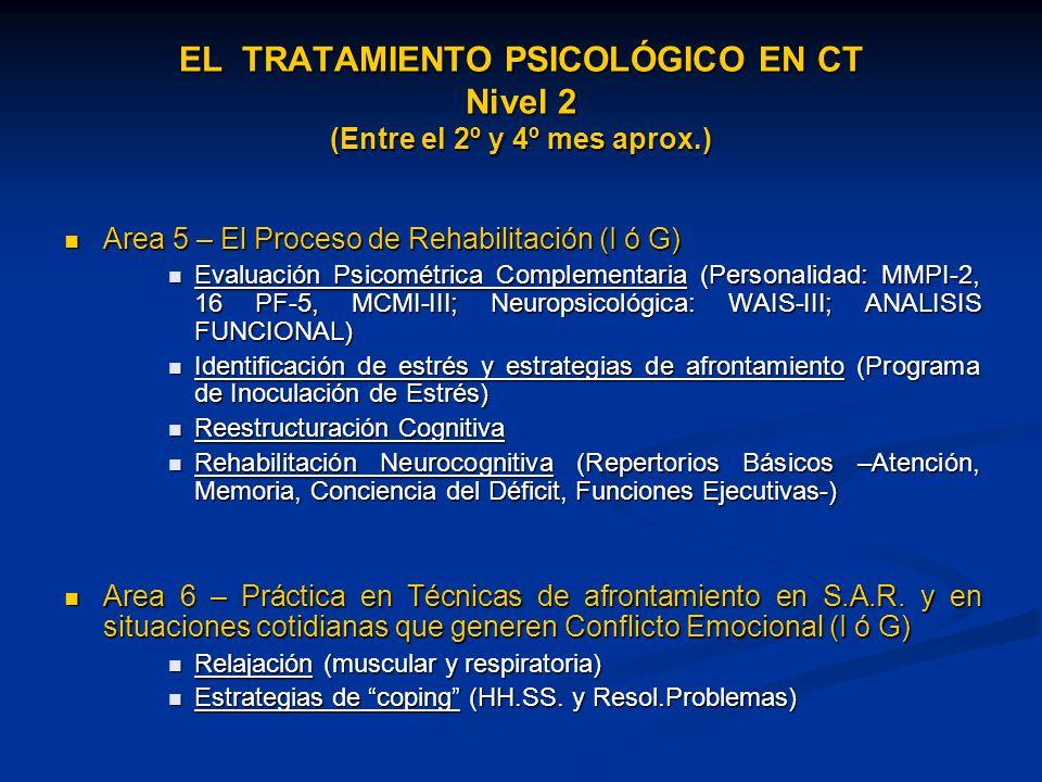 Area 5 – El Proceso de Rehabilitación (I ó G) Area 5 – El Proceso de Rehabilitación (I ó G) Evaluación Psicométrica Complementaria (Personalidad: MMPI