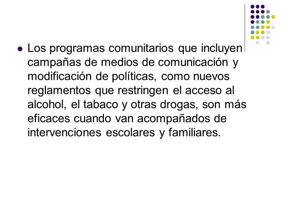 Los programas comunitarios que incluyen campañas de medios de comunicación y modificación de políticas, como nuevos reglamentos que restringen el acce