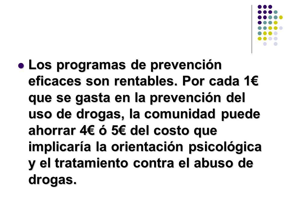 Los programas de prevención eficaces son rentables. Por cada 1 que se gasta en la prevención del uso de drogas, la comunidad puede ahorrar 4 ó 5 del c