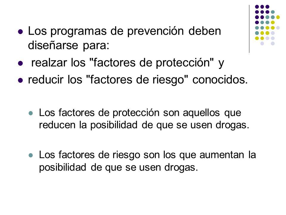 Los programas de prevención deben diseñarse para: realzar los
