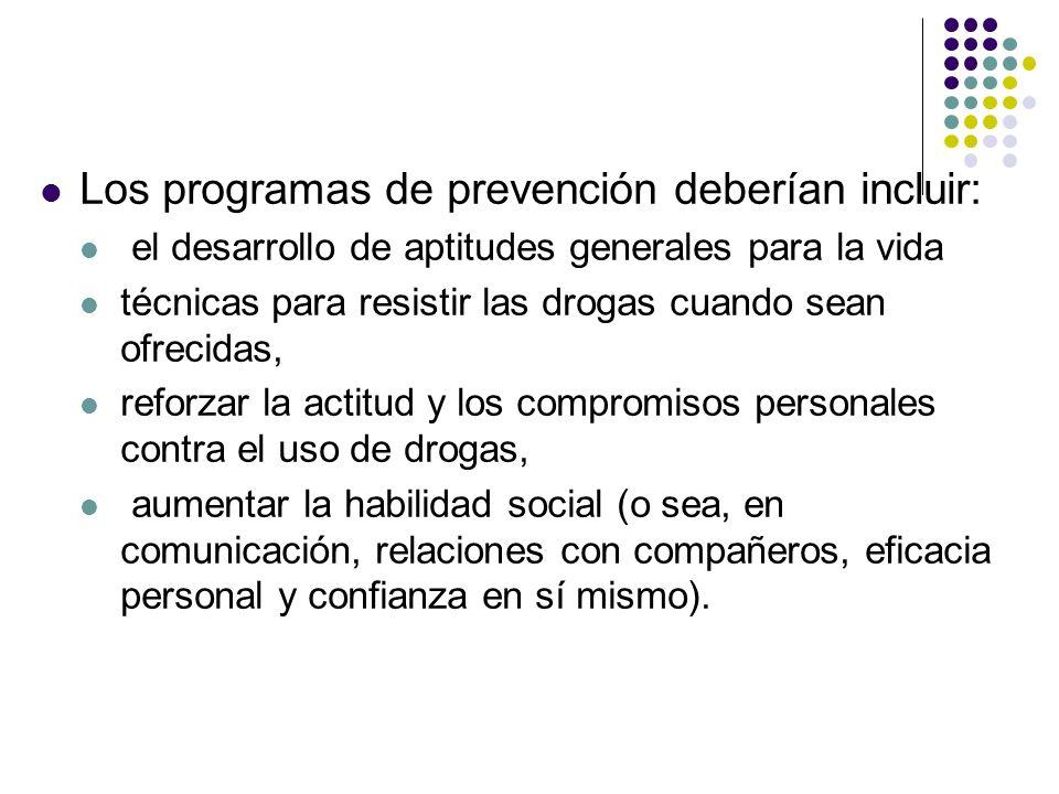 Los programas de prevención deberían incluir: el desarrollo de aptitudes generales para la vida técnicas para resistir las drogas cuando sean ofrecida