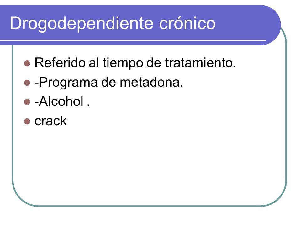 Drogodependiente crónico Referido al tiempo de tratamiento. -Programa de metadona. -Alcohol. crack