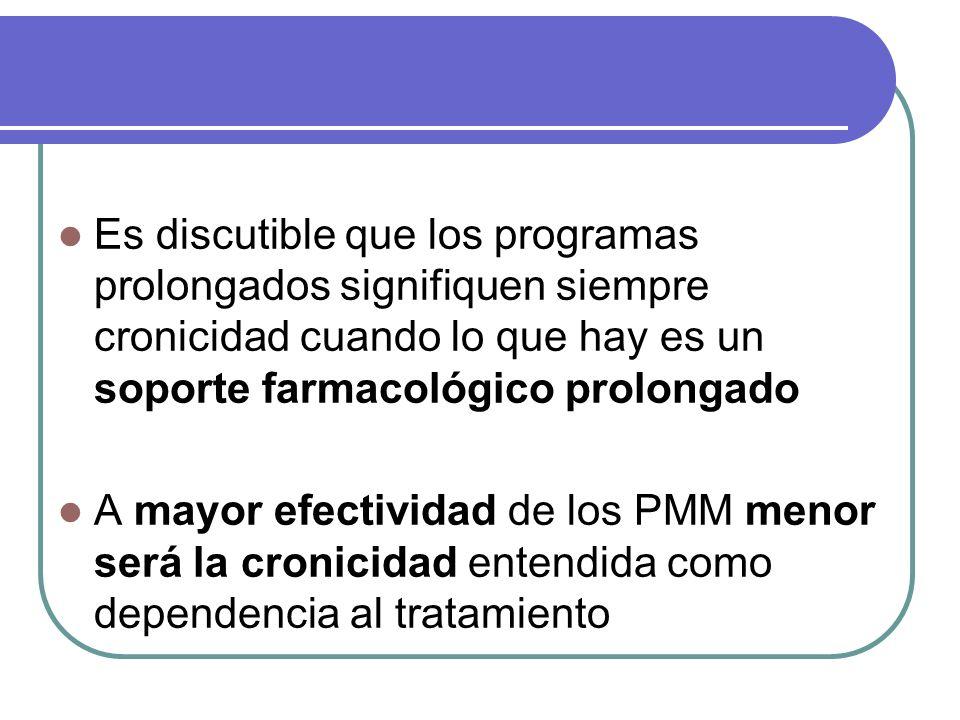 Es discutible que los programas prolongados signifiquen siempre cronicidad cuando lo que hay es un soporte farmacológico prolongado A mayor efectividad de los PMM menor será la cronicidad entendida como dependencia al tratamiento