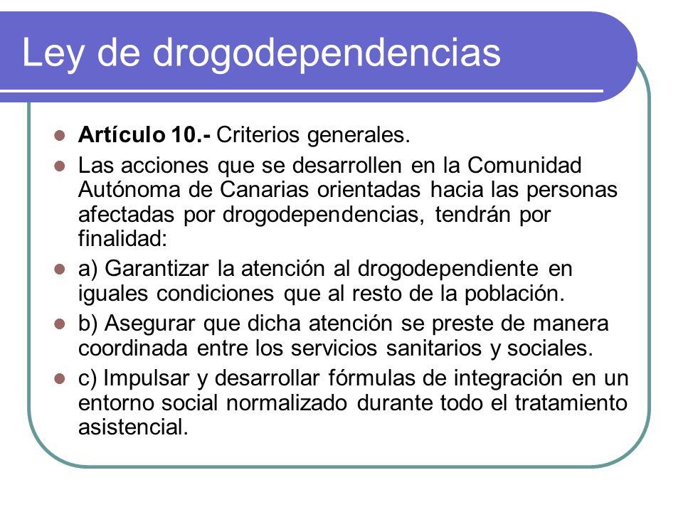 Ley de drogodependencias Artículo 10.- Criterios generales.