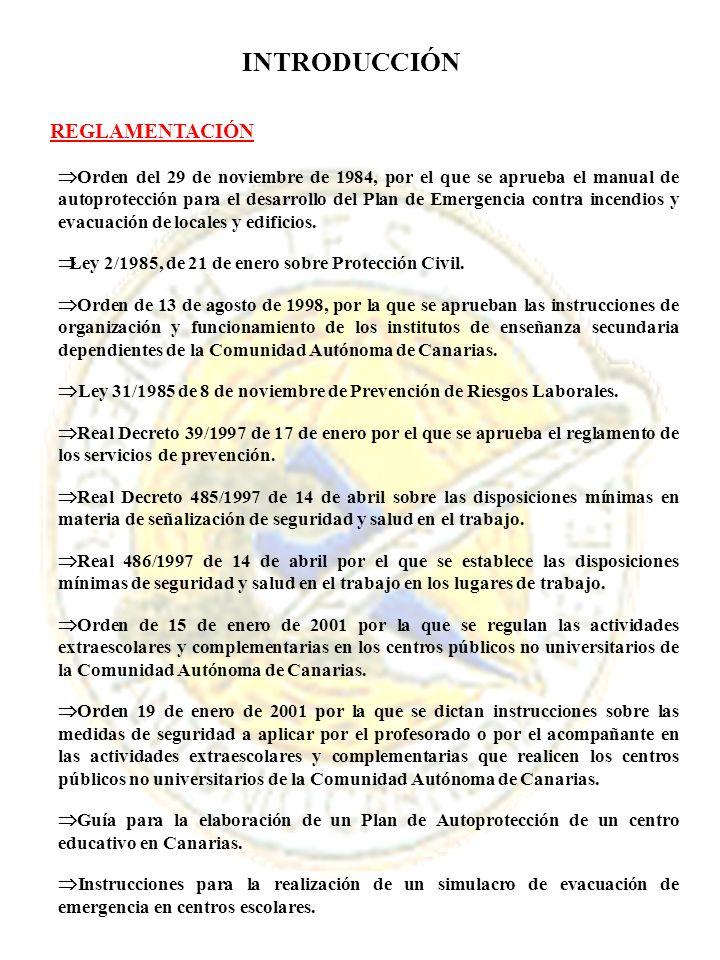 INTRODUCCIÓN REGLAMENTACIÓN Orden del 29 de noviembre de 1984, por el que se aprueba el manual de autoprotección para el desarrollo del Plan de Emerge