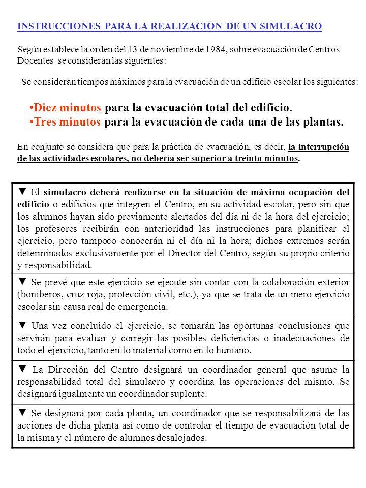INSTRUCCIONES PARA LA REALIZACIÓN DE UN SIMULACRO Según establece la orden del 13 de noviembre de 1984, sobre evacuación de Centros Docentes se consid