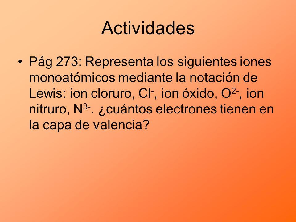 Actividades Pág 273: Representa los siguientes iones monoatómicos mediante la notación de Lewis: ion cloruro, Cl -, ion óxido, O 2-, ion nitruro, N 3-