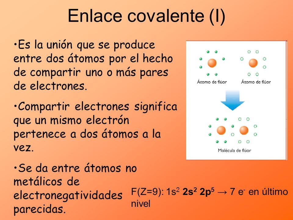 Enlace covalente (I) Es la unión que se produce entre dos átomos por el hecho de compartir uno o más pares de electrones. Compartir electrones signifi