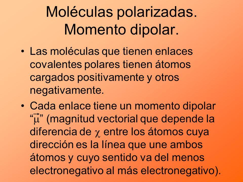 Moléculas polarizadas. Momento dipolar. Las moléculas que tienen enlaces covalentes polares tienen átomos cargados positivamente y otros negativamente