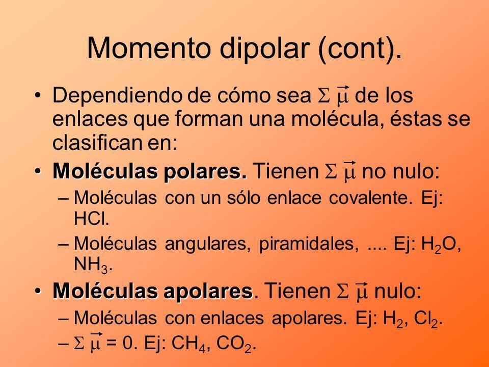 Momento dipolar (cont). Dependiendo de cómo sea de los enlaces que forman una molécula, éstas se clasifican en: Moléculas polares.Moléculas polares. T