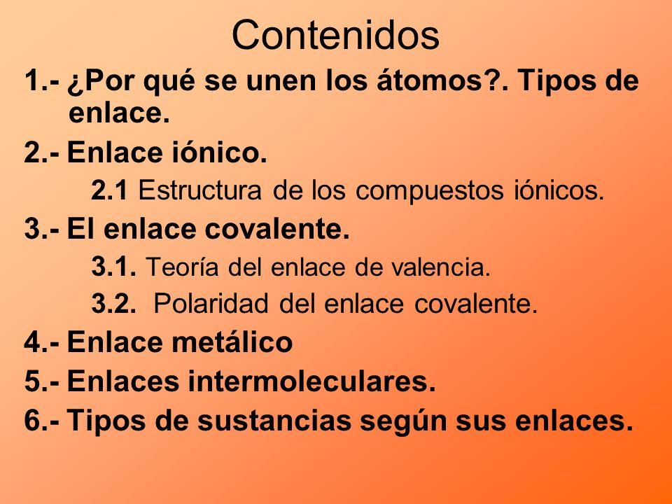 Contenidos 1.- ¿Por qué se unen los átomos?. Tipos de enlace. 2.- Enlace iónico. 2.1 Estructura de los compuestos iónicos. 3.- El enlace covalente. 3.