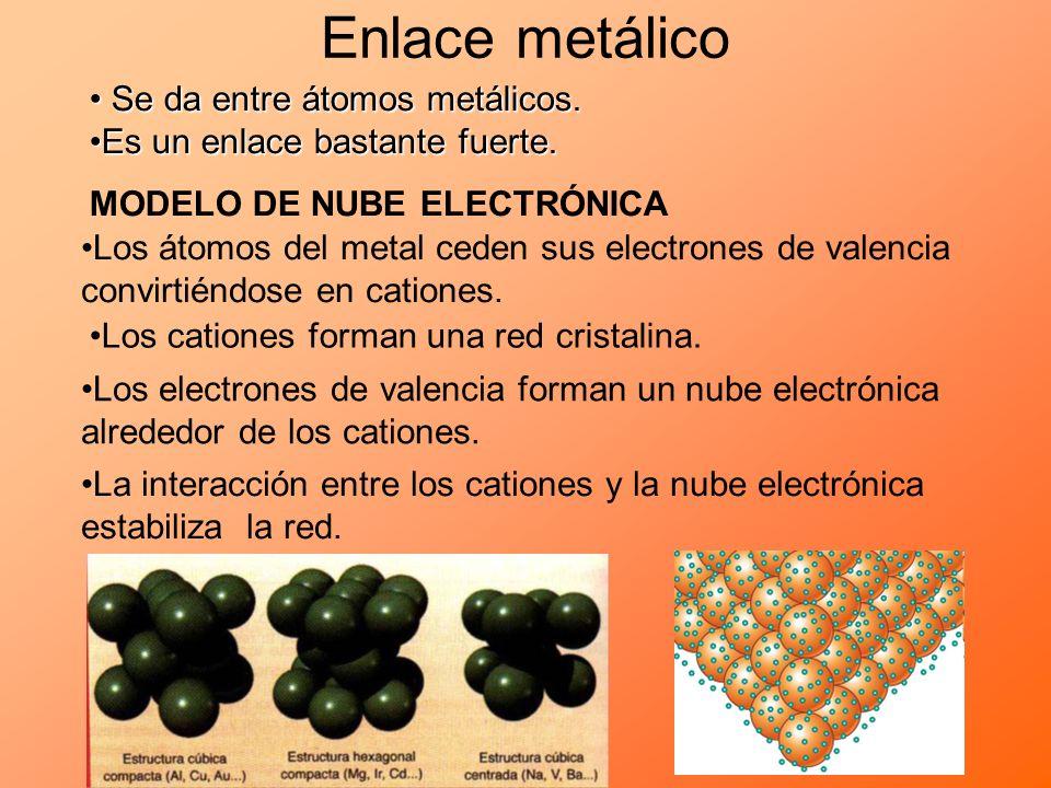 Enlace metálico Se da entre átomos metálicos. Se da entre átomos metálicos. Es un enlace bastante fuerte.Es un enlace bastante fuerte. MODELO DE NUBE