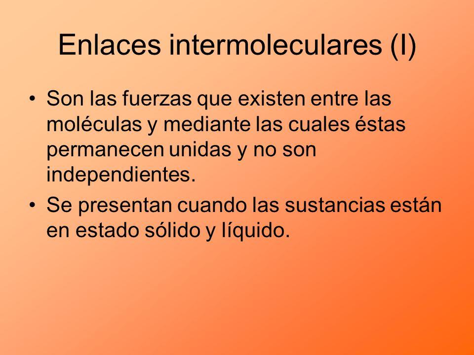 Son las fuerzas que existen entre las moléculas y mediante las cuales éstas permanecen unidas y no son independientes. Se presentan cuando las sustanc