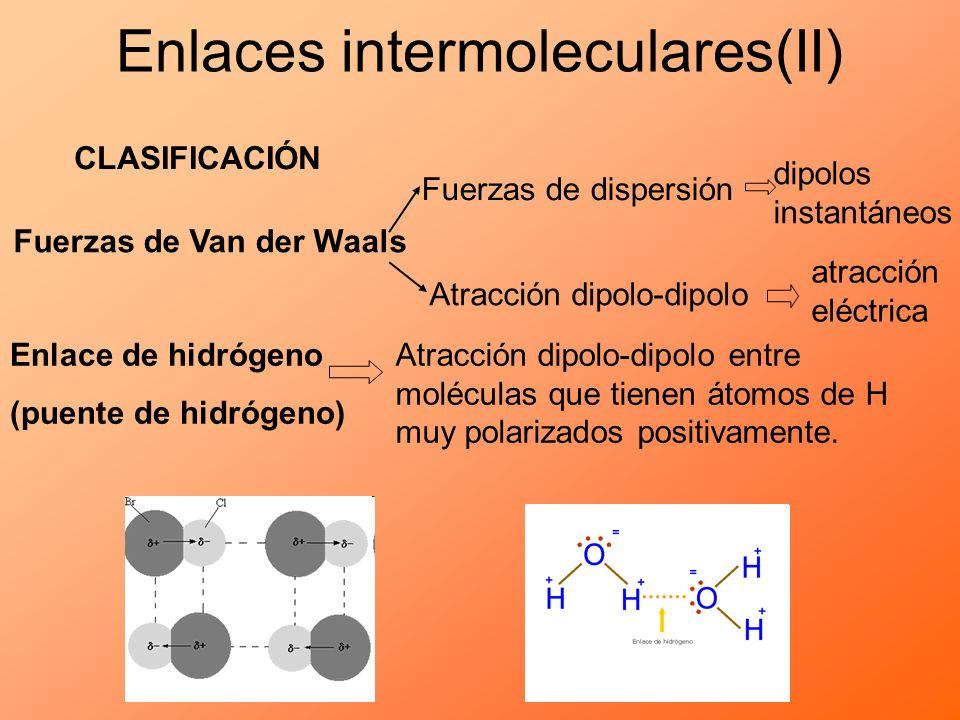 Enlaces intermoleculares(II) CLASIFICACIÓN Fuerzas de Van der Waals Fuerzas de dispersión Atracción dipolo-dipolo Enlace de hidrógeno (puente de hidró