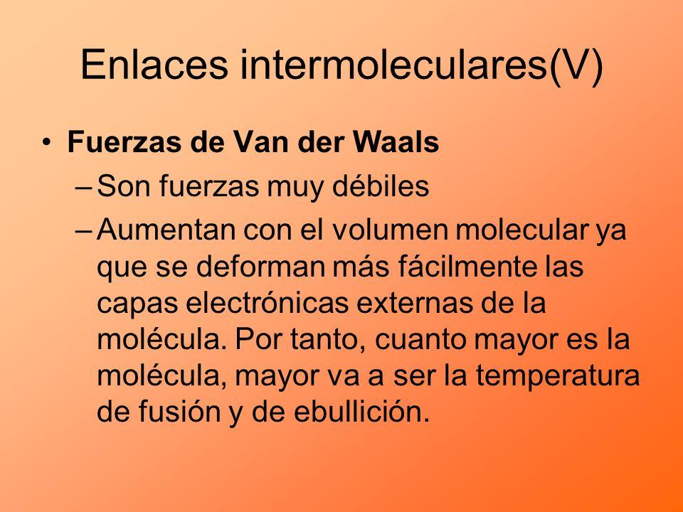 Fuerzas de Van der Waals –Son fuerzas muy débiles –Aumentan con el volumen molecular ya que se deforman más fácilmente las capas electrónicas externas