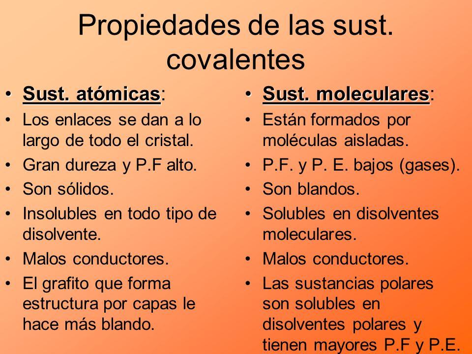 Propiedades de las sust. covalentes Sust. atómicasSust. atómicas: Los enlaces se dan a lo largo de todo el cristal. Gran dureza y P.F alto. Son sólido