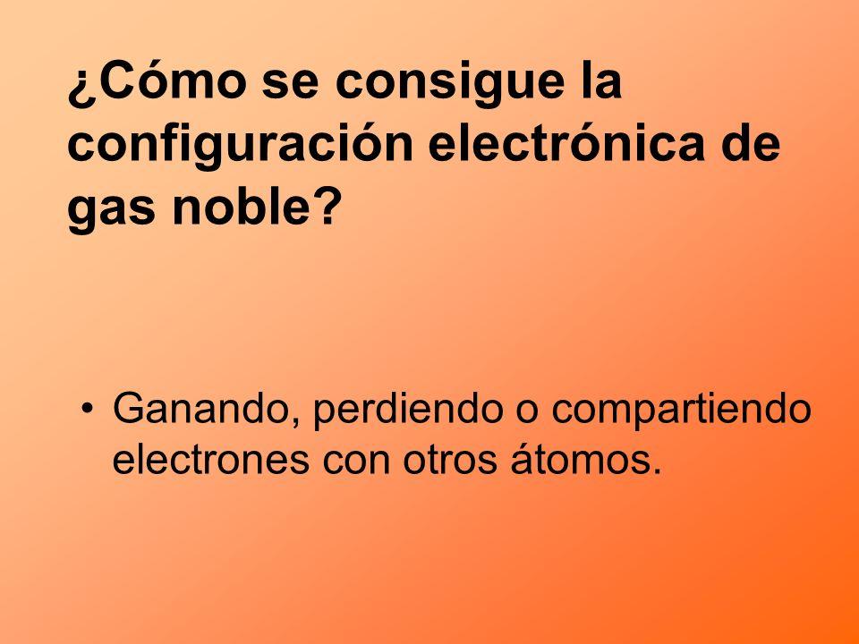 ¿Cómo se consigue la configuración electrónica de gas noble? Ganando, perdiendo o compartiendo electrones con otros átomos.