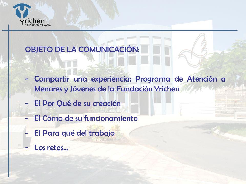 OBJETO DE LA COMUNICACIÓN: -Compartir una experiencia: Programa de Atención a Menores y Jóvenes de la Fundación Yrichen -El Por Qué de su creación -El
