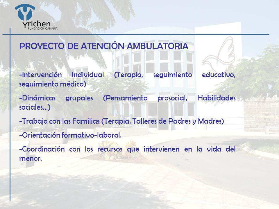 PROYECTO DE ATENCIÓN AMBULATORIA -Intervención Individual (Terapia, seguimiento educativo, seguimiento médico) -Dinámicas grupales (Pensamiento prosoc