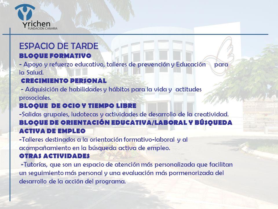 ESPACIO DE TARDE BLOQUE FORMATIVO - Apoyo y refuerzo educativo, talleres de prevención y Educación para la Salud. CRECIMIENTO PERSONAL - Adquisición d