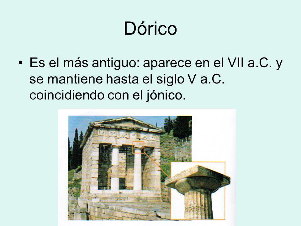 Dórico Es el más antiguo: aparece en el VII a.C. y se mantiene hasta el siglo V a.C. coincidiendo con el jónico.