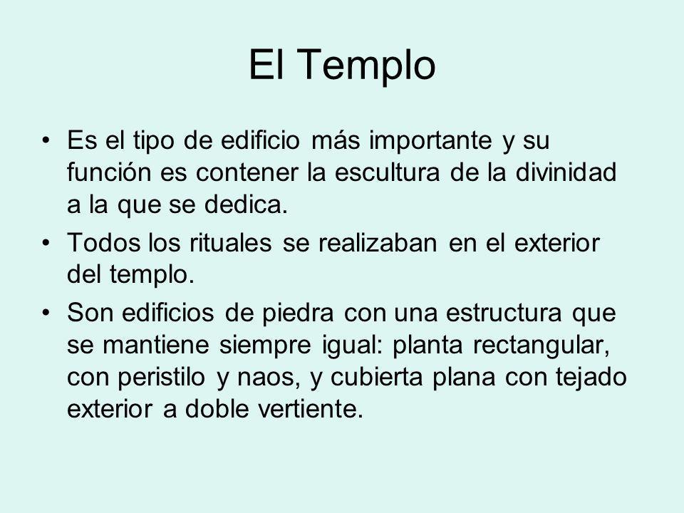 El Templo Es el tipo de edificio más importante y su función es contener la escultura de la divinidad a la que se dedica. Todos los rituales se realiz