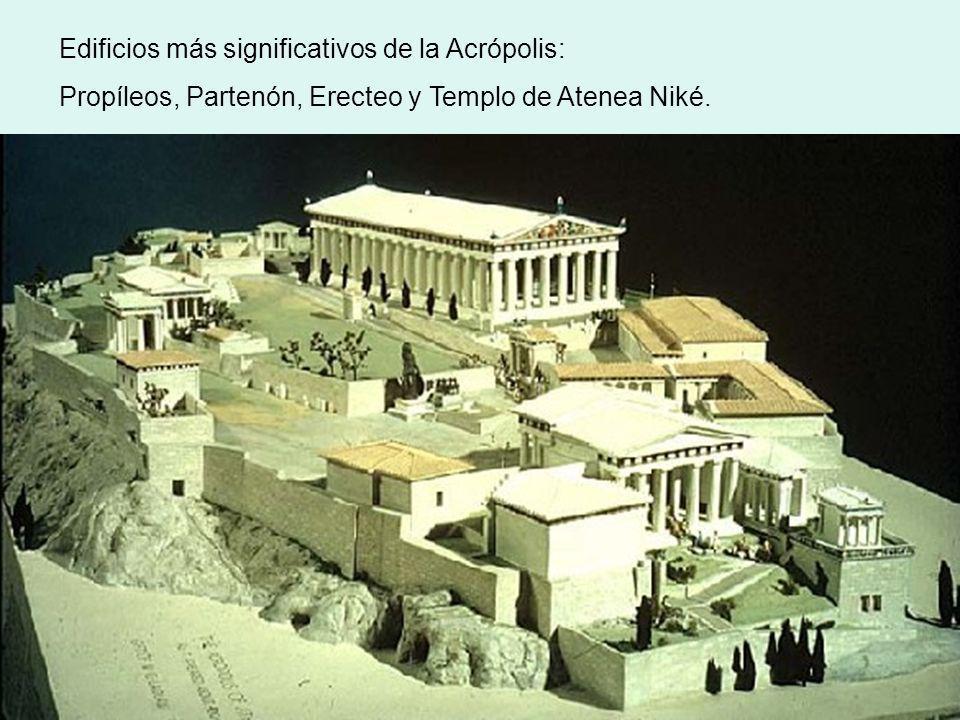 Edificios más significativos de la Acrópolis: Propíleos, Partenón, Erecteo y Templo de Atenea Niké.