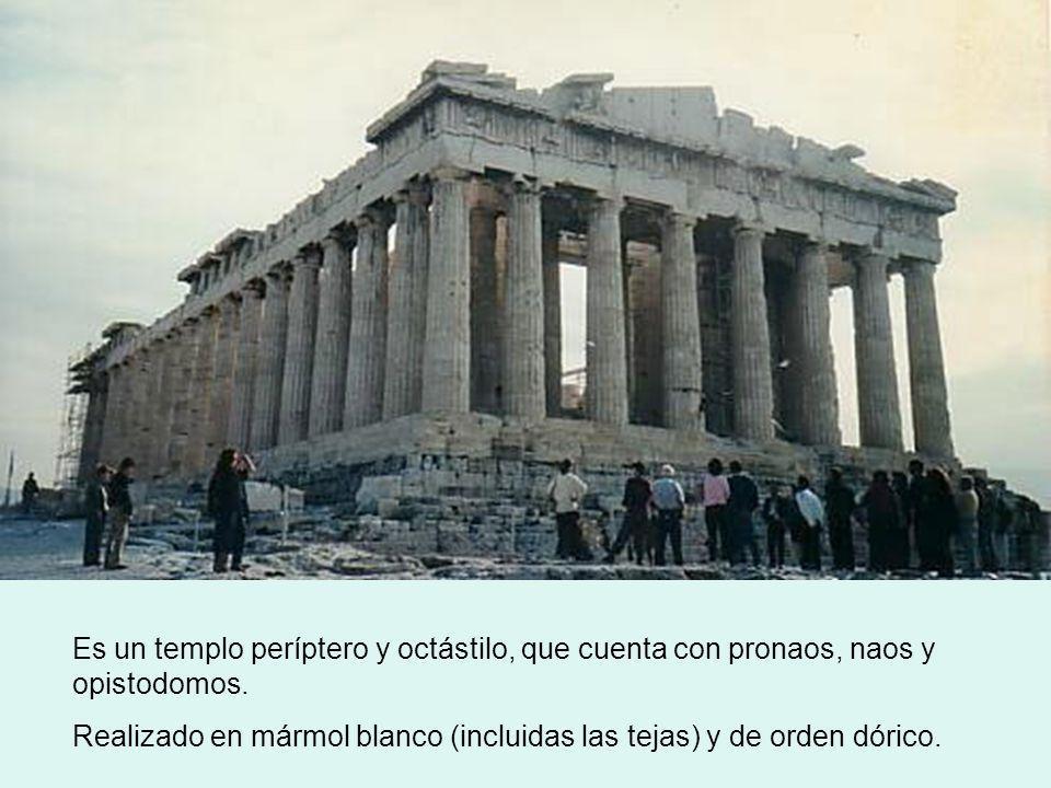 Es un templo períptero y octástilo, que cuenta con pronaos, naos y opistodomos. Realizado en mármol blanco (incluidas las tejas) y de orden dórico.