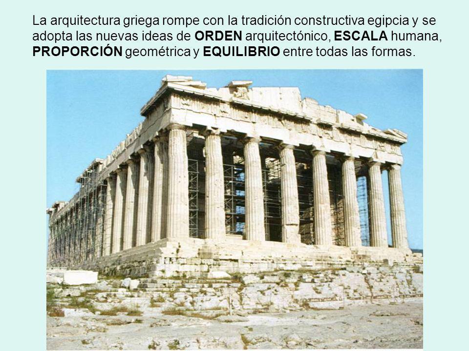 La arquitectura griega rompe con la tradición constructiva egipcia y se adopta las nuevas ideas de ORDEN arquitectónico, ESCALA humana, PROPORCIÓN geo