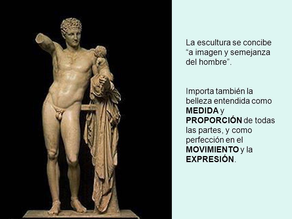 La escultura se concibe a imagen y semejanza del hombre. Importa también la belleza entendida como MEDIDA y PROPORCIÓN de todas las partes, y como per