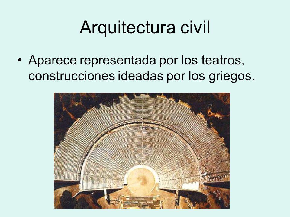 Arquitectura civil Aparece representada por los teatros, construcciones ideadas por los griegos.