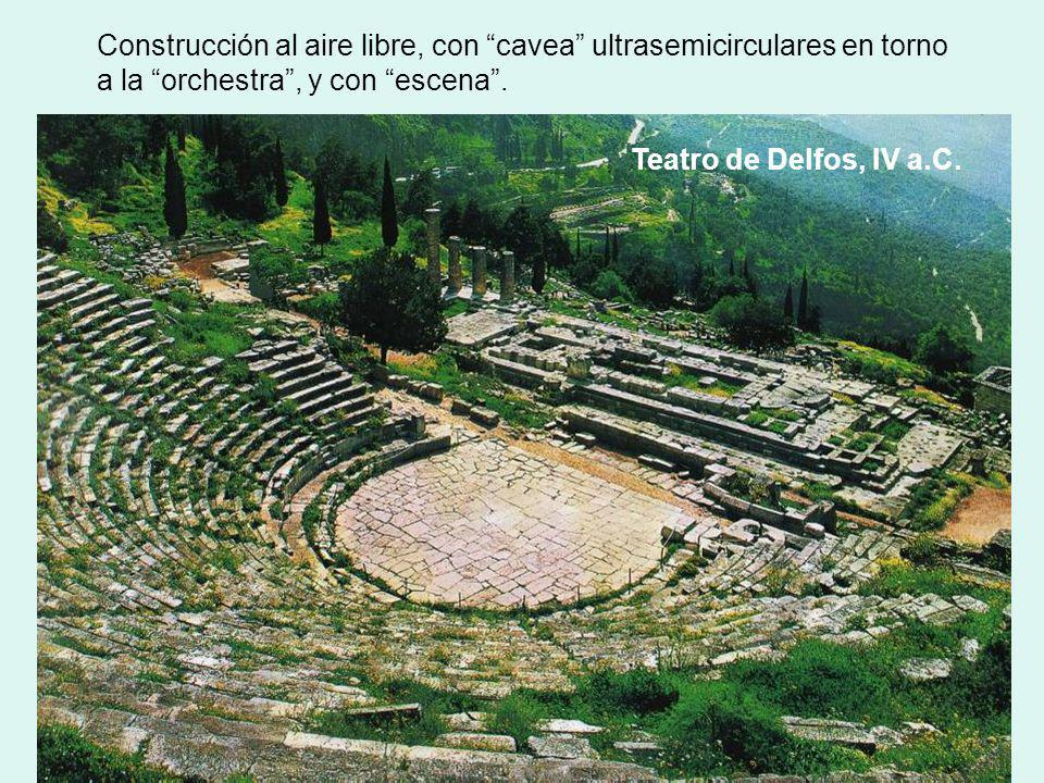 Construcción al aire libre, con cavea ultrasemicirculares en torno a la orchestra, y con escena. Teatro de Delfos, IV a.C.