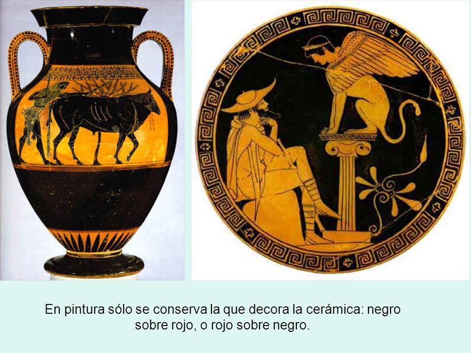 En pintura sólo se conserva la que decora la cerámica: negro sobre rojo, o rojo sobre negro.