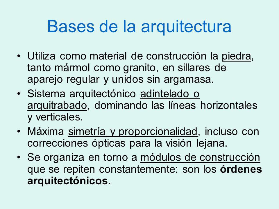 Bases de la arquitectura Utiliza como material de construcción la piedra, tanto mármol como granito, en sillares de aparejo regular y unidos sin argam