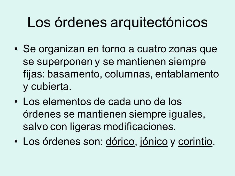 Los órdenes arquitectónicos Se organizan en torno a cuatro zonas que se superponen y se mantienen siempre fijas: basamento, columnas, entablamento y c
