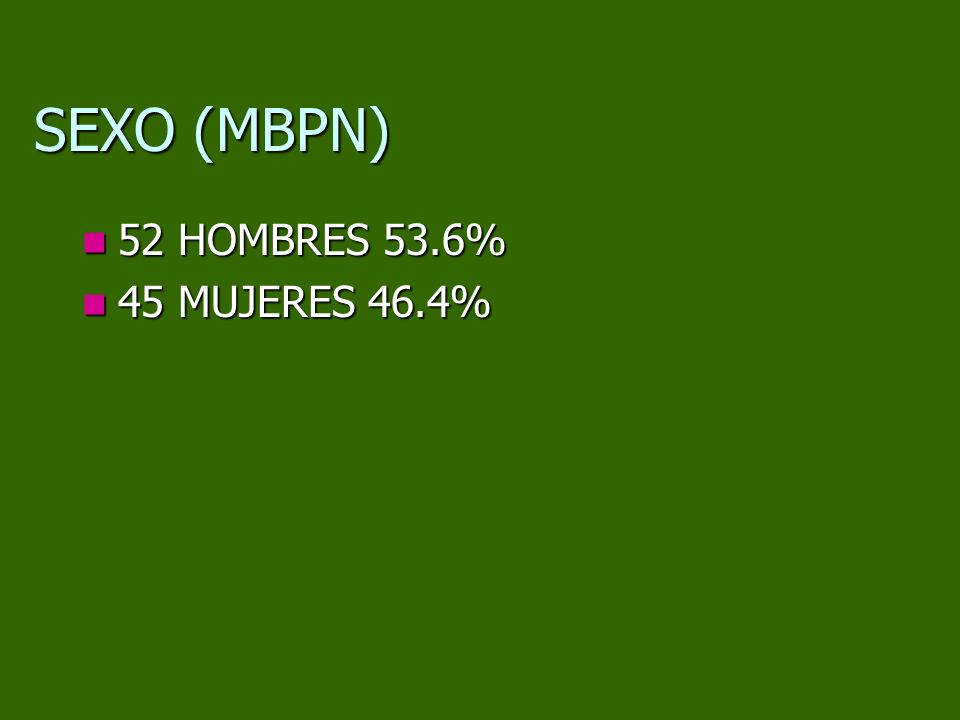 SEXO (MBPN) 52 HOMBRES 53.6% 52 HOMBRES 53.6% 45 MUJERES 46.4% 45 MUJERES 46.4%