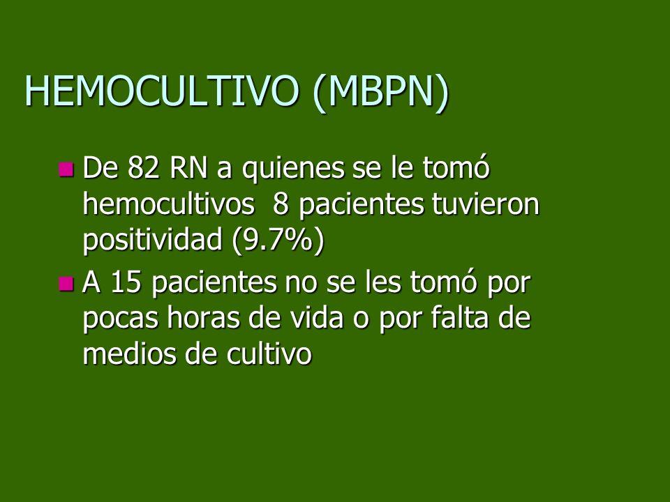 De 82 RN a quienes se le tomó hemocultivos 8 pacientes tuvieron positividad (9.7%) De 82 RN a quienes se le tomó hemocultivos 8 pacientes tuvieron pos