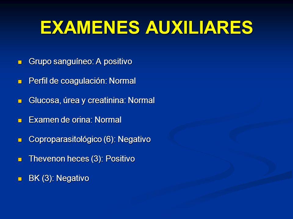 EXAMENES AUXILIARES Grupo sanguíneo: A positivo Grupo sanguíneo: A positivo Perfil de coagulación: Normal Perfil de coagulación: Normal Glucosa, úrea