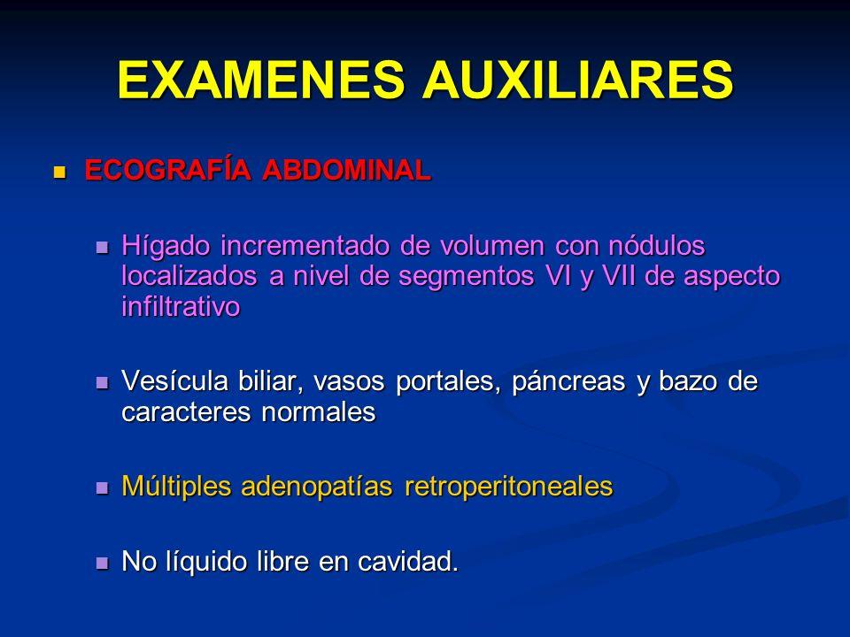 EXAMENES AUXILIARES ECOGRAFÍA ABDOMINAL ECOGRAFÍA ABDOMINAL Hígado incrementado de volumen con nódulos localizados a nivel de segmentos VI y VII de as
