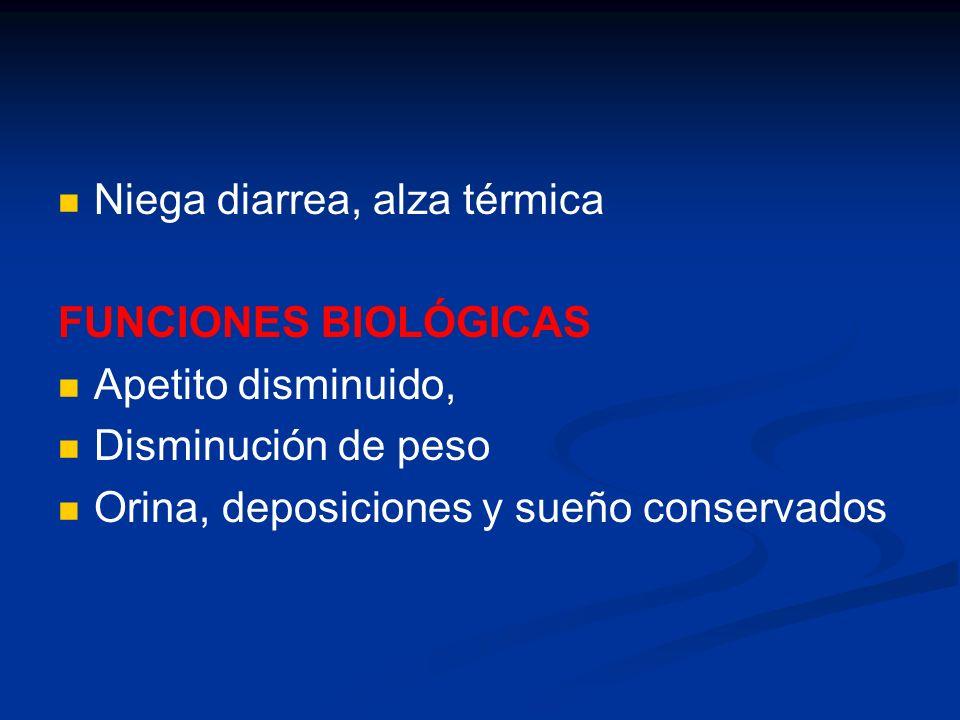 ENFERMEDAD ACTUAL DOLOR ABDOMINAL DIFUSO CLORANFENICOL: 15 d BAJA DE PESO: 2 Kg NAUSEAS Y VÓMITOS 1 m HOSPITALIZACIÓN