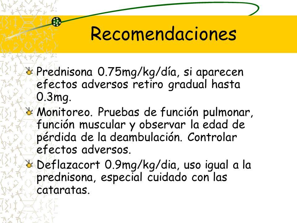 Conclusiones 7 estudios clase I y variso clase IV demostraron el beneficio de los corticoides. Dosis 0.75mg de prednisona y 0.9mg de deflazacort. Efec
