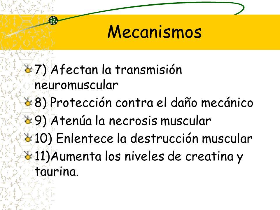 Mecanismos 1) Alteran el RNAm 2) Reducen linfocitos T citotóxicos 3) Disminuyen el flujo de calcio 4) Aumentan la expresión de la laminina 5) Retardan