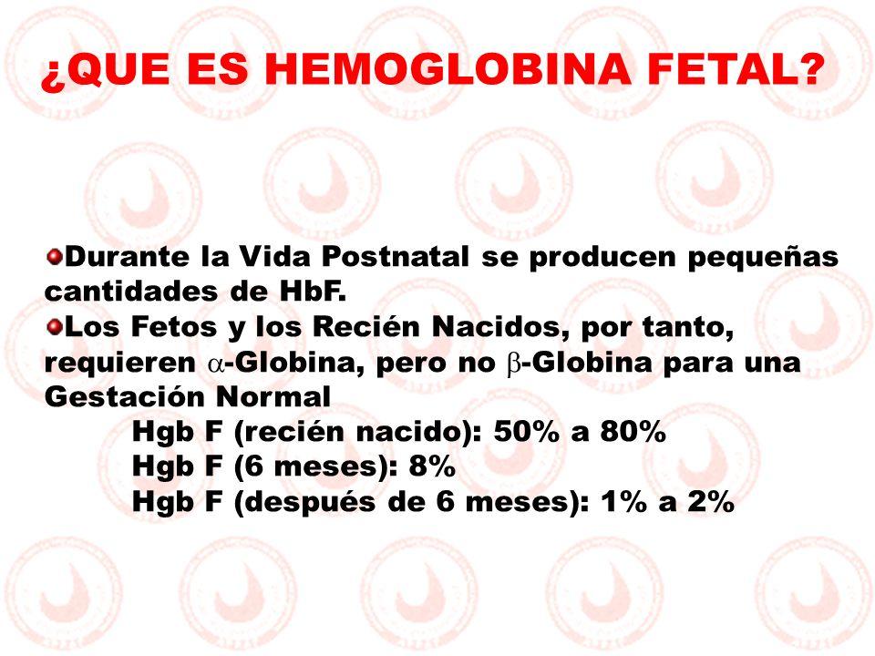Durante la Vida Postnatal se producen pequeñas cantidades de HbF. Los Fetos y los Recién Nacidos, por tanto, requieren -Globina, pero no -Globina para