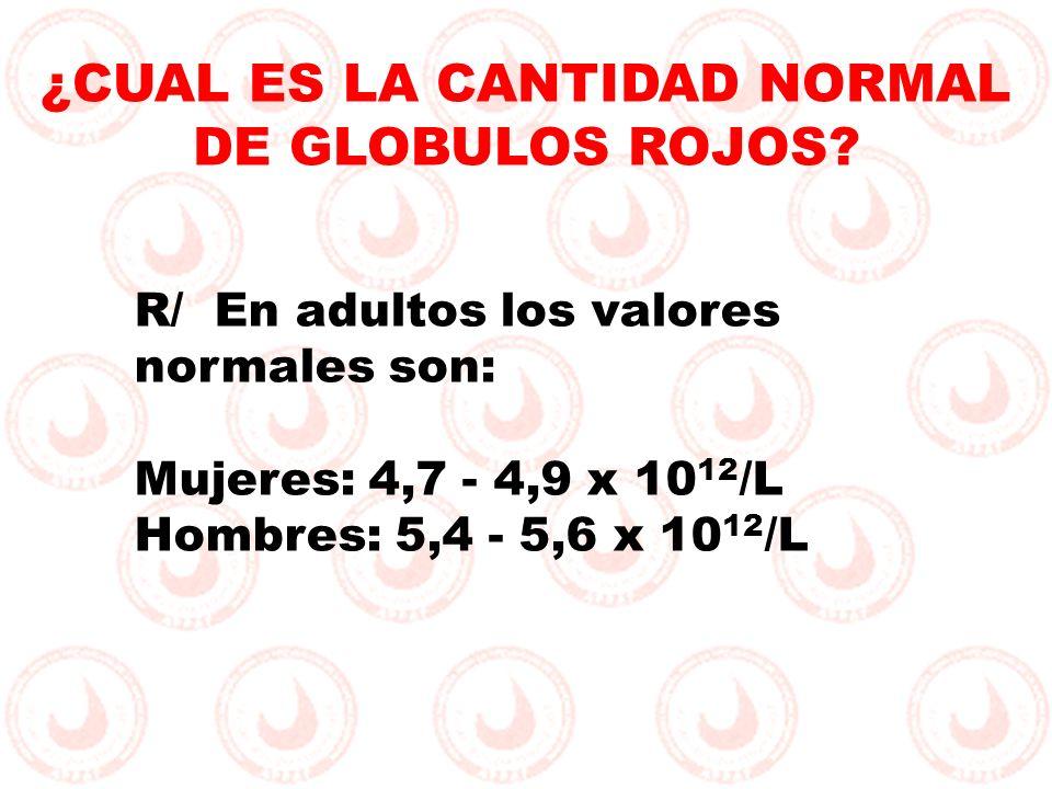 R/ En adultos los valores normales son: Mujeres: 4,7 - 4,9 x 10 12 /L Hombres: 5,4 - 5,6 x 10 12 /L ¿CUAL ES LA CANTIDAD NORMAL DE GLOBULOS ROJOS?