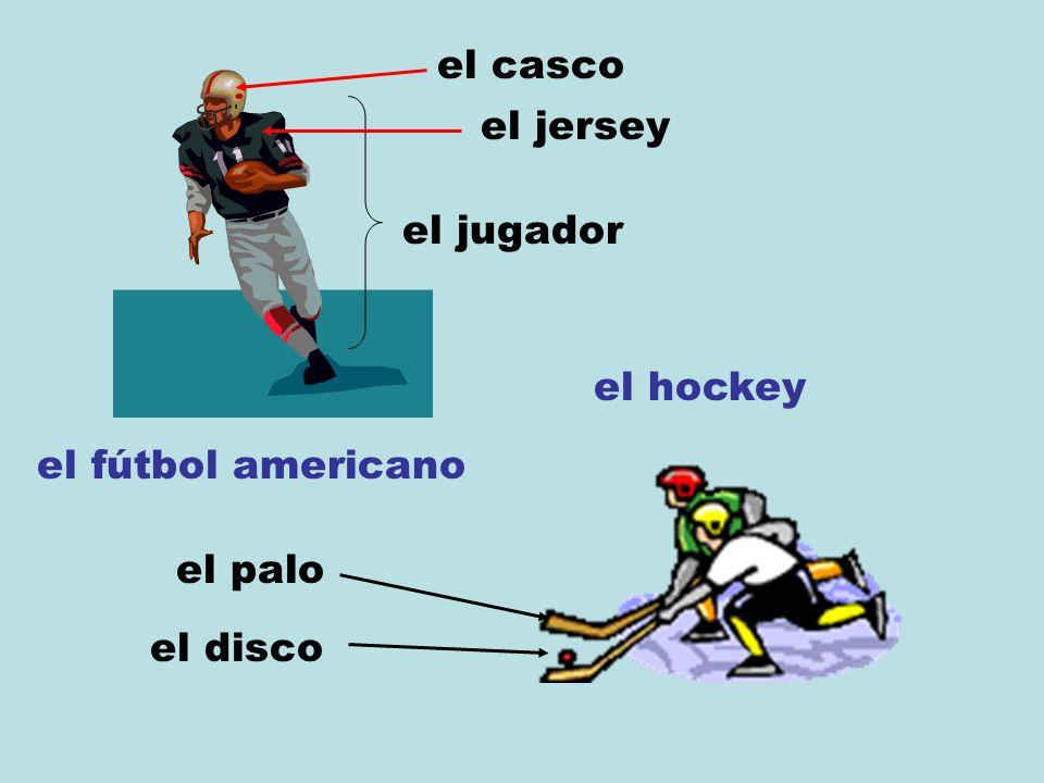 el fútbol americano el jugador el jersey el hockey el disco el palo el casco
