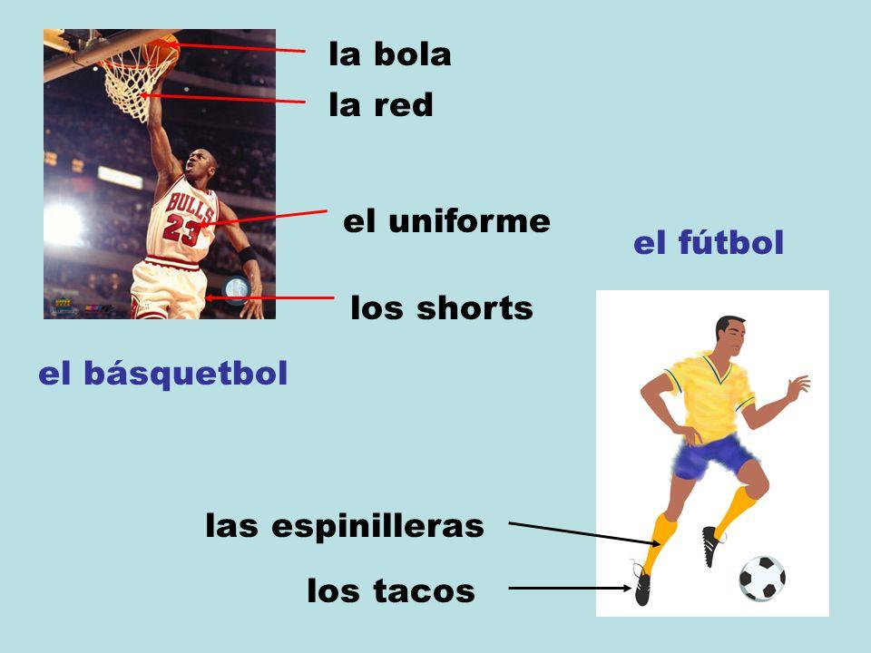 el básquetbol la bola el uniforme los shorts el fútbol las espinilleras los tacos la red